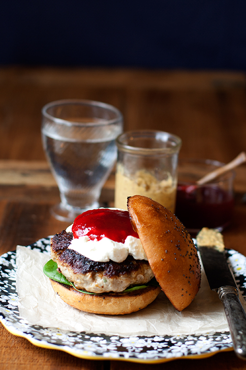 Herbed Turkey Burger with Goat Cheese and Cranberry Sauce