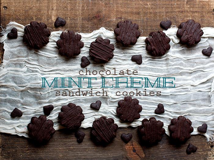 Chocolate Mint Creme Sandwich Cookies