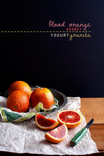 Recipe: Blood Orange Sorbet + Yogurt Granita