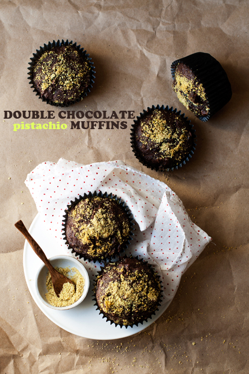 Double Chocolate + Pistachio Muffins