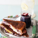 Grilled Goat Cheese, Bacon, and Jam Breakfast Sandwich