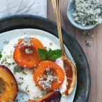 Roasted Stone Fruit with Ricotta and Mint Sugar