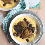 Slow Cooker Hard Cider Braised Pork with Sour Cherries and Cheesy Polenta