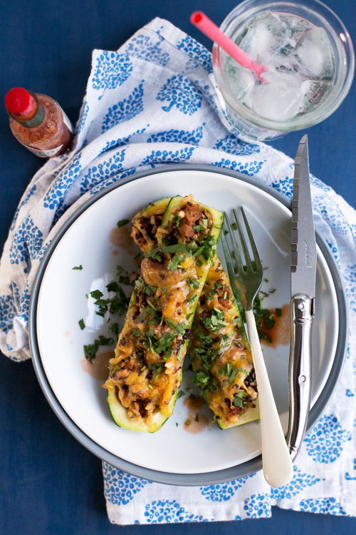 Cheesy Southwest Grains and Chorizo Zucchini Boats