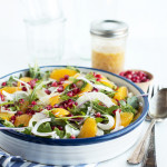 Fennel, Orange, & Pomegranate Salad with Spicy Orange-Honey Vinaigrette