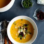 Creamy Squash Soup with Chorizo & Manchego