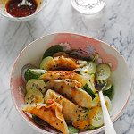 Potsticker Salad with Sweet and Spicy Dressing
