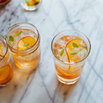 3-Ingredient Elderflower Sangria -- This cheater's version of sangria has just 3 ingredients: dry rosé wine, floral St. Germain liqueur, and juicy peaches!
